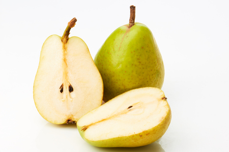 two and a half: Pear and two half isolated on white