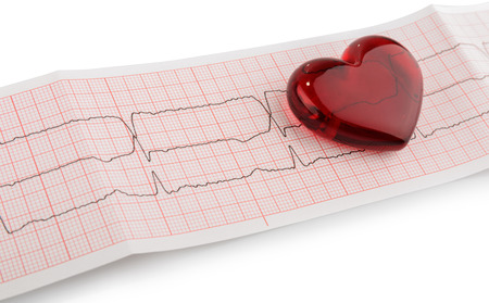 Cardiogram pulse trace and heart concept for cardiovascular medical exam photo