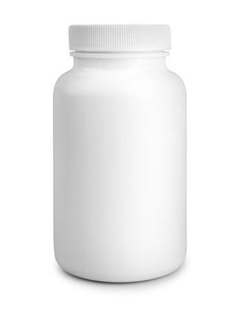 白い背景で隔離薬白い錠剤瓶 写真素材