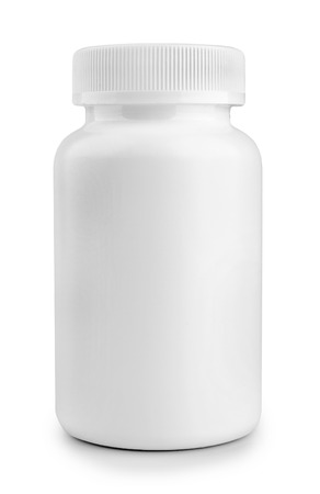 medicine white pill bottle isolated on a white background 版權商用圖片
