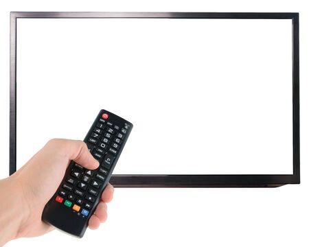 remote control: Male hand holding remote control to the TV isolated on white  Stock Photo