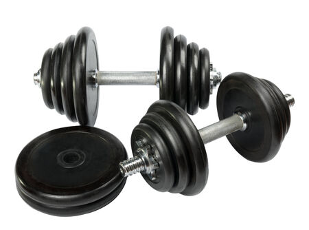 dumbell: Exercise hand weights isolated on a white background Stock Photo