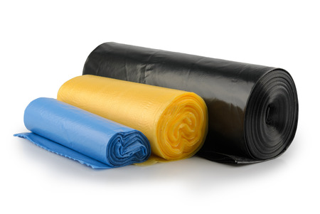 Roll of plastic garbage bags isolated on white