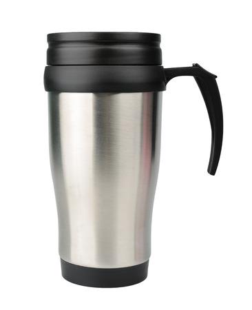 Aluminum Vacuum flask mug isolated on white