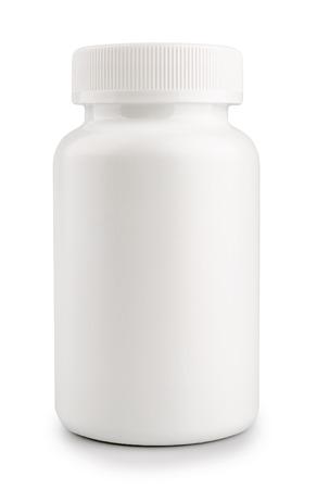 botellas de plastico: medicina píldora frasco blanco aislado en un fondo blanco Foto de archivo