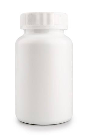 vitamins pills: medicine white pill bottle isolated on a white background Stock Photo