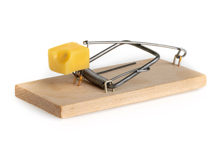 endangerment: Mouse trap isolated on a white background