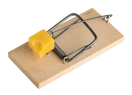 endangerment: Mouse trap isolated on a white, clipping path