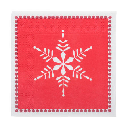 serviettes: red Christmas or festive paper napkins aka serviettes, isolated clipping path Stock Photo