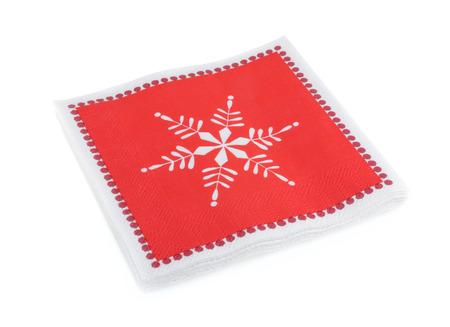 serviettes: red Christmas or festive paper napkins aka serviettes, isolated Stock Photo