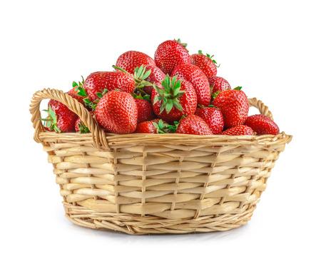Strawberries in a basket isolated Reklamní fotografie