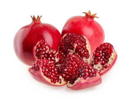 half open: Pomegranate fruit isolated
