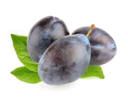 purple leaf plum: Plums isolated Stock Photo