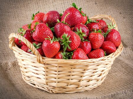 Strawberries in a basket Stockfoto