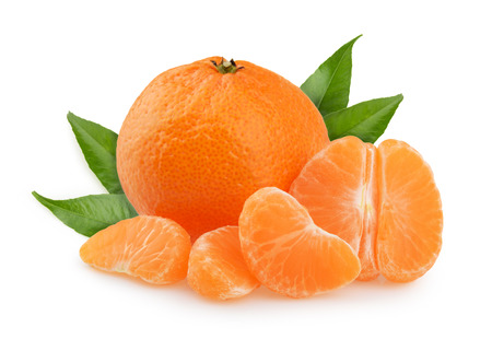 Tangerines with leaves and slices on white background