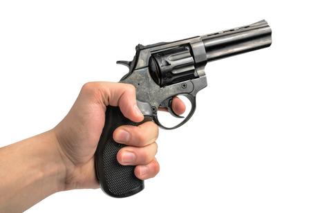 gun barrel: Revolver gun in hand on white background