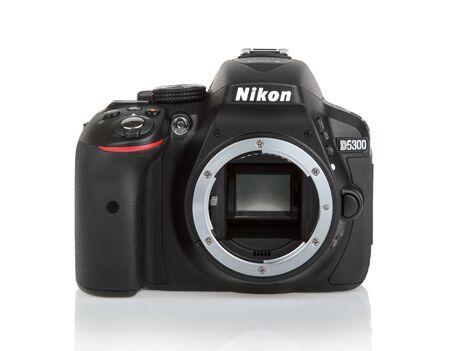 photojournalist: KYIV, UKRAINE - JUNE 19, 2015: Nikon d5300 camera body on white background