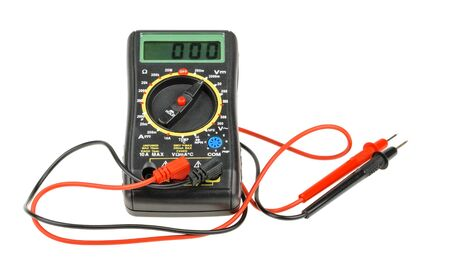impedance: Digital multimeter isolated on white background. cutout