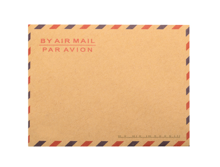air mail: Brown Envelope isolated. close up Stock Photo