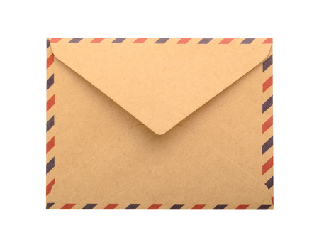 letter envelope: Brown Envelope isolated. close up Stock Photo