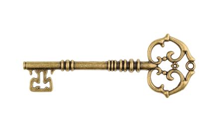 llaves: Viejo clave aislado en el fondo blanco. sin sombra