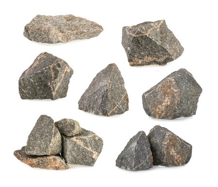花こう岩の石、白い背景上に孤立岩セット 写真素材