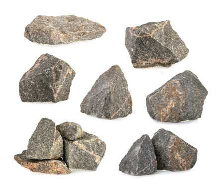 Granite stones, rocks set isolated on white background Foto de archivo