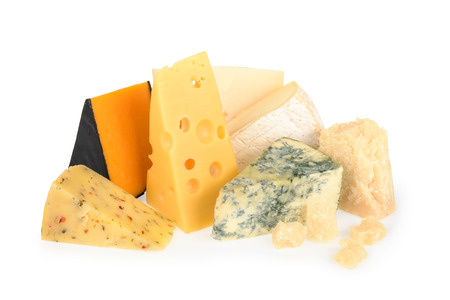 chees: Various types of cheese isolated on white Stock Photo