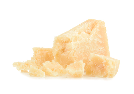 cheez: parmesan cheese isolated on white background Stock Photo