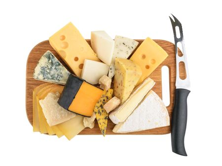 kulinarne: Various types of cheese isolated on white. without shadow