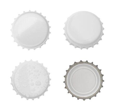 birretes: Tapa de la botella aislado en fondo blanco. sin sombra Foto de archivo