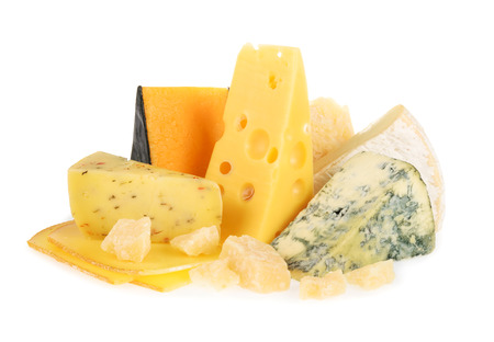 Various types of cheese isolated on white Reklamní fotografie