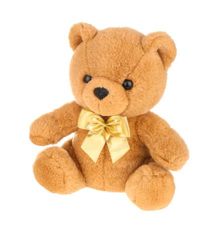 oso de peluche: Osito de juguete aislado en blanco, sin sombra.