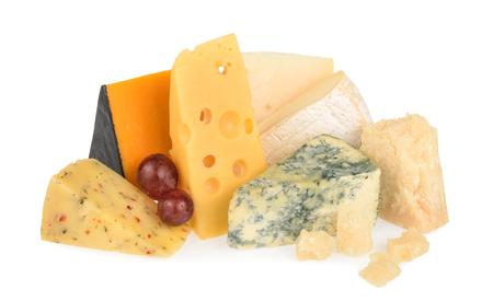 white cheese: Various types of cheese isolated on white Stock Photo