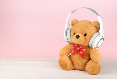 copy space: Teddy Bear with headphones with copy space