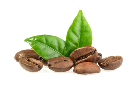 coffe beans: coffee grains and leaves isolated