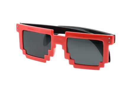 wayfarer: Pixel glasses isolated on white. without shadow Stock Photo