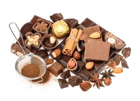 cafe bombon: Delicious chocolates isolated on white background