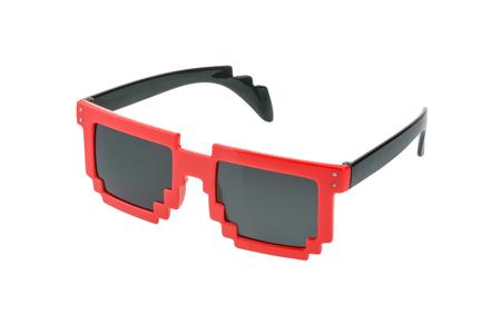 wayfarer: Pixel glasses isolated on white.