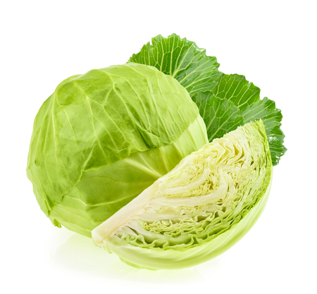 savoy cabbage: Green cabbage isolated on white background