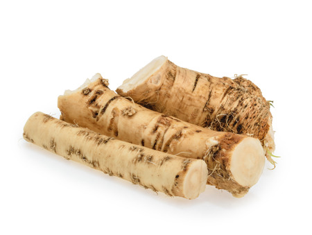 Horseradish roots isolated on white background