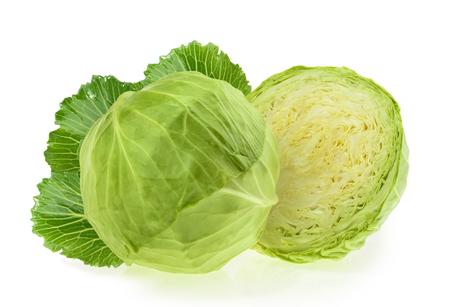 흰색 배경에 고립 된 녹색 양배추