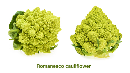 Romanesco cauliflower isolated on white background