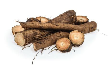 Burdock roots isolated on white background Archivio Fotografico - 97690787