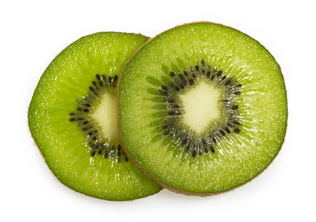 kiwi slices isolated on white background