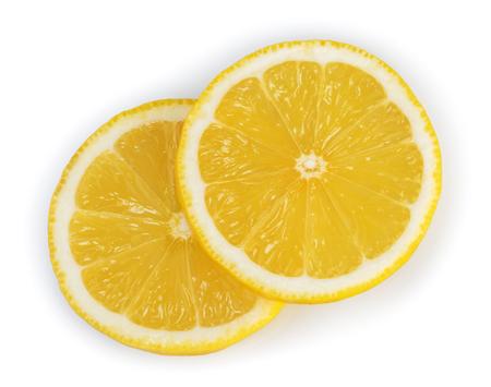 Lemon slices isolated white background