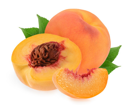 Peaches isolated on white background Zdjęcie Seryjne