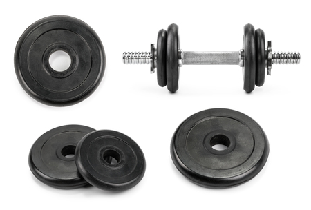 dumbbell weight plates isolated white background