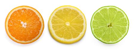 citrus slice, orange, lemon, lime, isolated on white background Reklamní fotografie