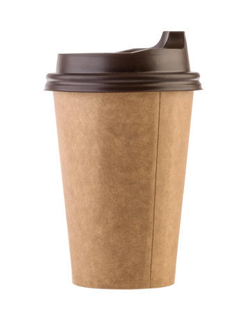 disposable paper cup isolated. Clipping path - Image